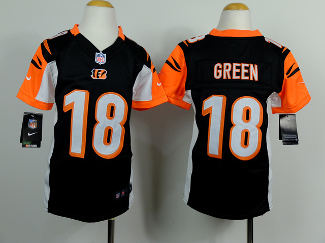 Youth Cincinnati Bengals 18 J. Green Black 2014 Nike Jerseys
