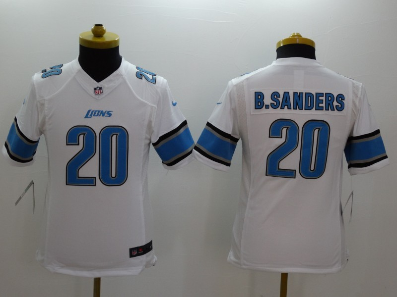 Youth Detroit Lions 20 Barry Sanders white 2014 Nike Limited Jerseys