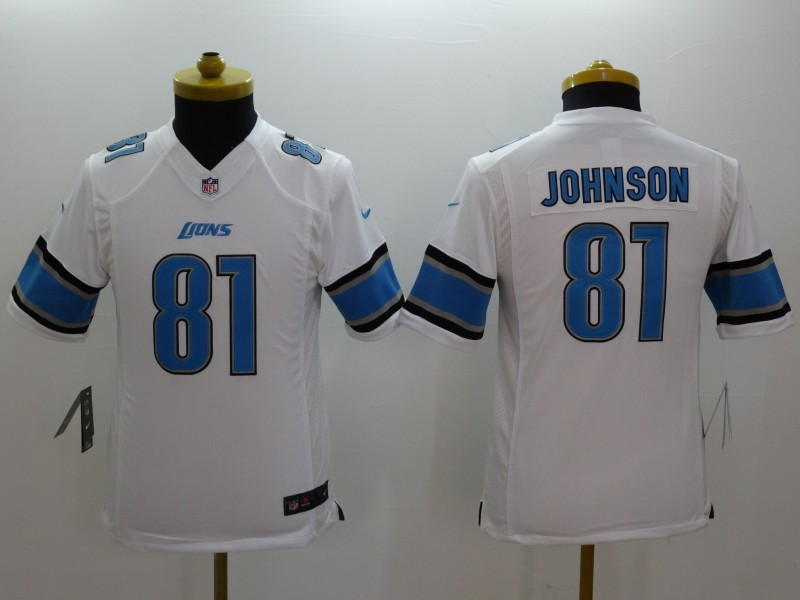 Youth Detroit Lions 81 Calvin Johnson white 2014 Nike Limited Jerseys