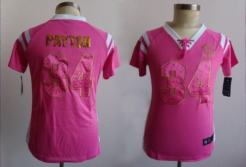 Womens Chicago Bears 34 Payton Pink Nike Fashion Rhinestone sequins Jerseys