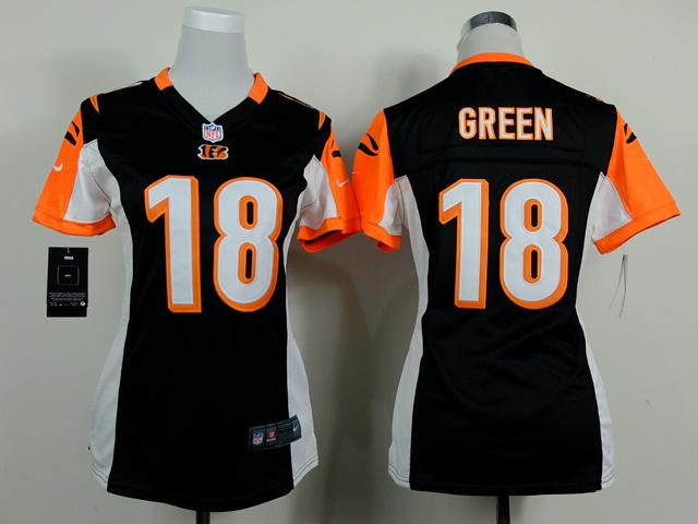 Womens Cincinnati Bengals 18 J. Green Black 2014 Nike Jerseys