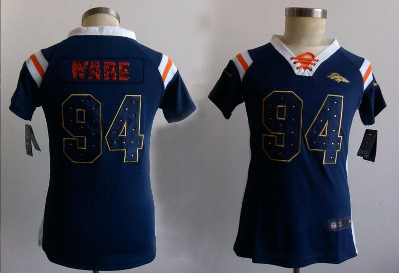 Womens Denver Broncos 94 Ware Blue Nike Fashion Rhinestone sequins Jerseys