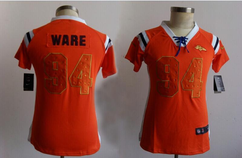Womens Denver Broncos 94 Ware Orange Nike Fashion Rhinestone sequins Jerseys