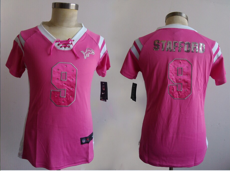 Womens Detroit Lions 9 Stafford Pink Nike Fashion Rhinestone sequins Jerseys