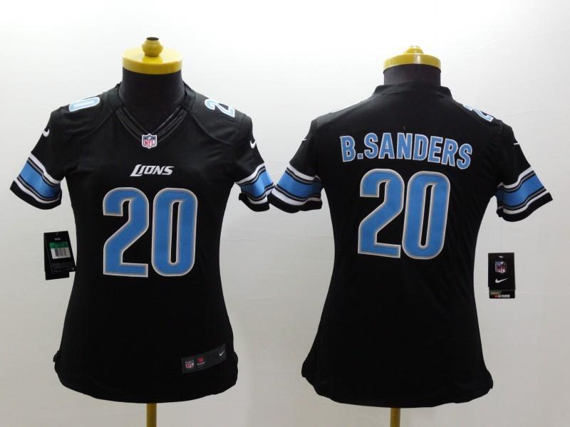 Womens Detroit Lions 20 Barry Sanders Black 2014 Nike Limited Jerseys