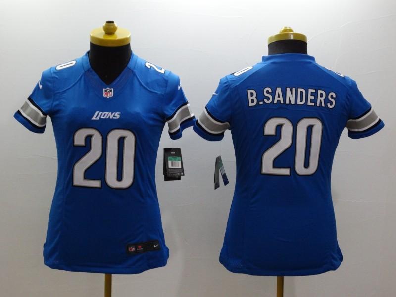 Womens Detroit Lions 20 Barry Sanders Blue 2014 Nike Limited Jerseys