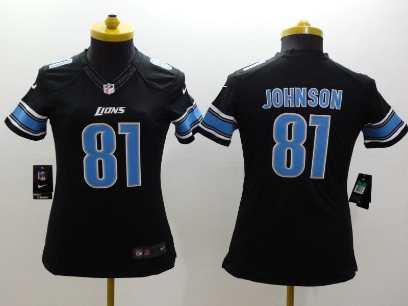 Womens Detroit Lions 81 Calvin Johnson Black 2014 Nike Limited Jerseys
