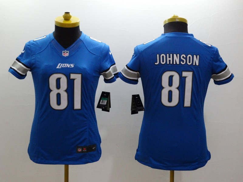 Womens Detroit Lions 81 Calvin Johnson Blue 2014 Nike Limited Jerseys