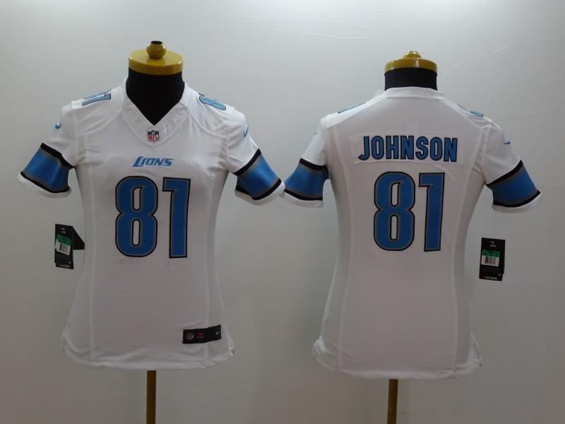 Womens Detroit Lions 81 Calvin Johnson white 2014 Nike Limited Jerseys