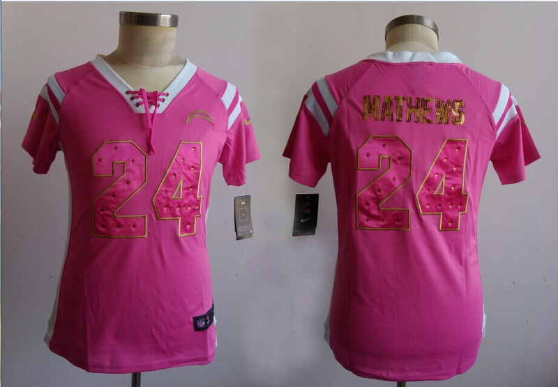 Womens San Diego Chargers 24 Mathews Pink Nike Fashion Rhinestone sequins Jerseys