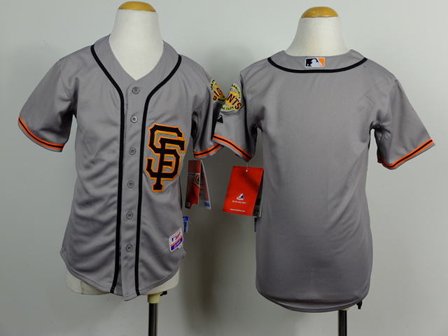 Youth MLB San Francisco Giants Blank Grey 2014 Jerseys
