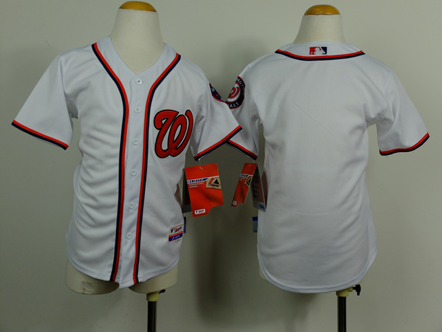 Youth MLB Washington Nationals Blank White 2014 Jerseys