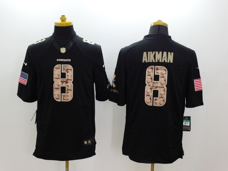 Dallas Cowboys 8 Aikman Black 2014 Nike Salute TO Service Jersey