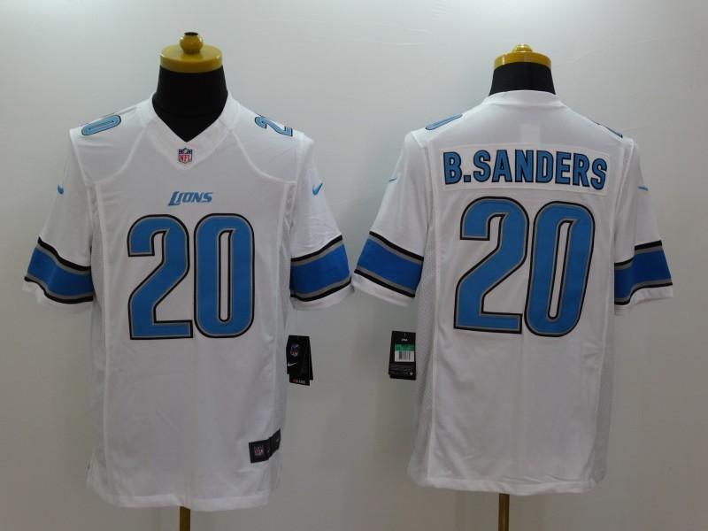 Detroit Lions 20 B.Sanders White 2014 Nike Limited Jerseys
