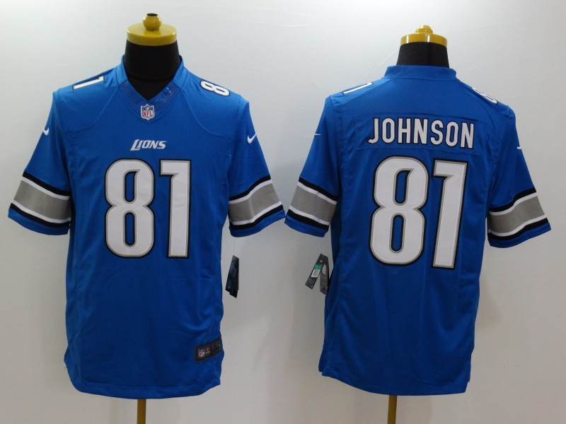 Detroit Lions 81 Calvin Johnson Blue 2014 Nike Limited Jerseys