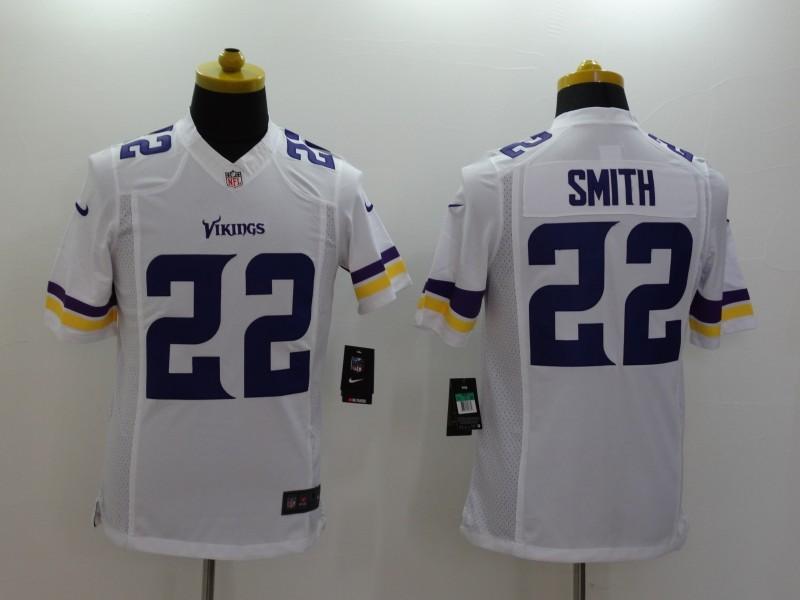 Minnesota Vikings 22 Smith White 2014 Nike Limited Jerseys