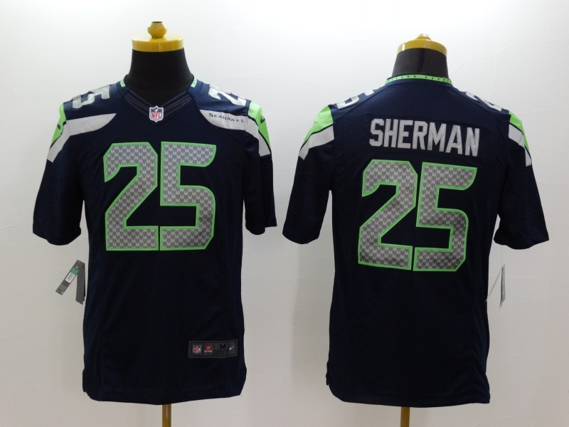 Seattle Seahawks 25 Richard Sherman Blue 2014 Nike Limited Jerseys
