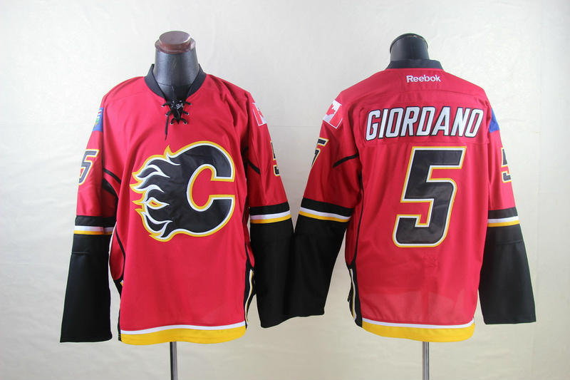 NHL Calgary Flames 5 Giordano red 2014 Jerseys