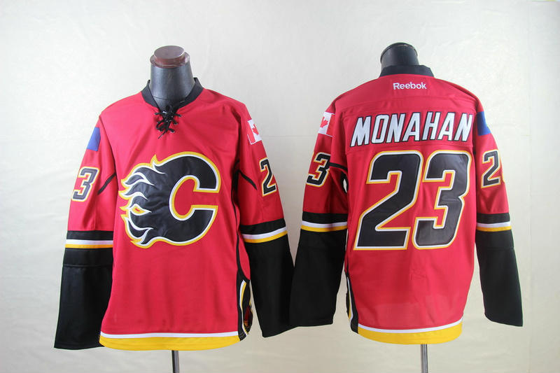 NHL Calgary Flames 23 Monahan red 2014 Jerseys