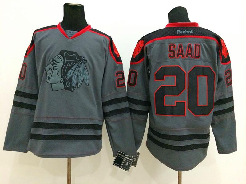 NHL Chicago Blackhawks 20 Brandon Saad Charcoal Fashion 2014 Jersey