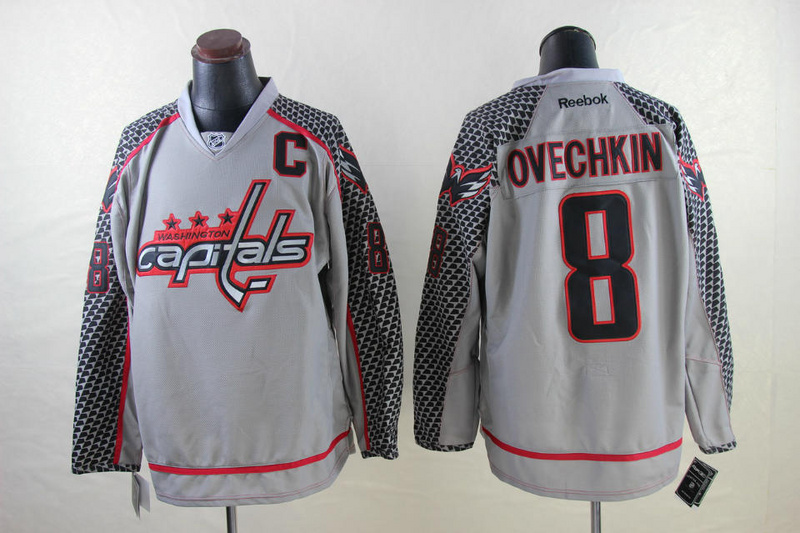 NHL Washington Capitals 8 Alexander Ovechkin Gray 2014 Jerseys