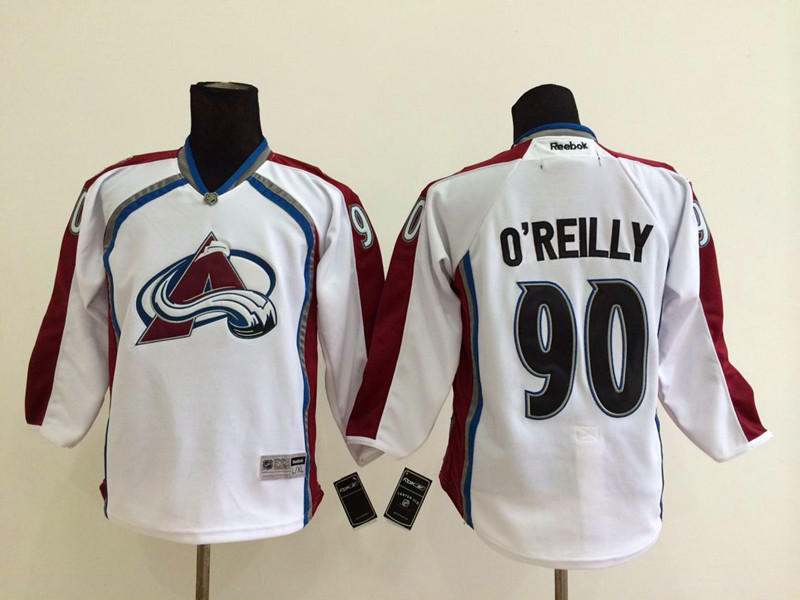 Youth NHL Colorado Avalanche 90 Ryan O'Reilly White 2014 Jerseys