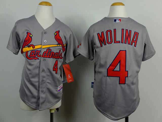 Youth MLB St Louis Cardinals 4 Yadier Molina Grey 2014 Jerseys