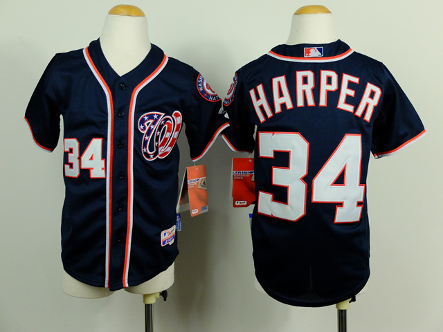 Youth MLB Washington Nationals 34 Bryce Harper Blue 2014 Jerseys