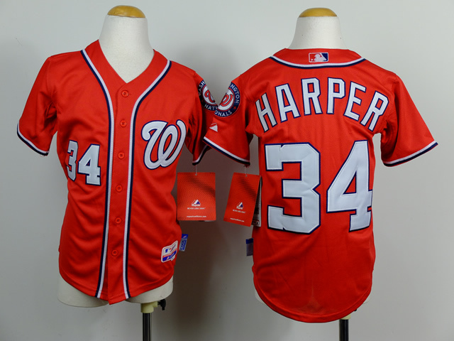 Youth MLB Washington Nationals 34 Bryce Harper red 2014 Jerseys