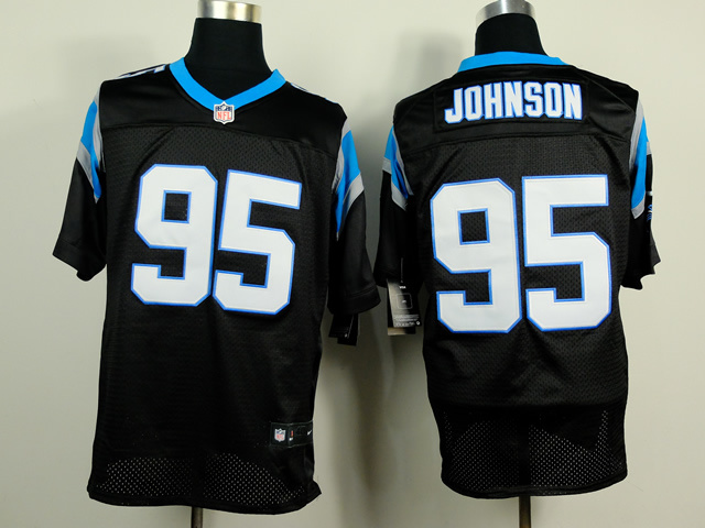 Carolina Panthers 95 Johnson Black 2014 Nike Elite Jerseys