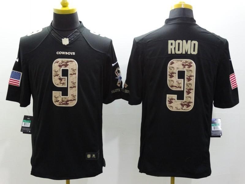 Dallas cowboys 9 Romo Black 2014 Nike Salute TO Service Jersey
