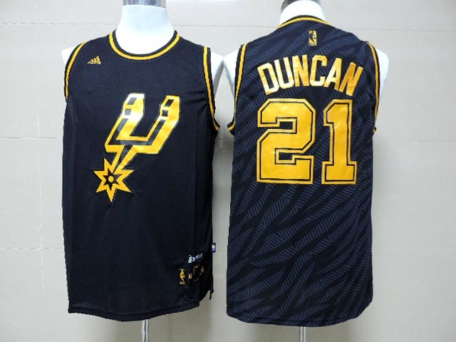 NBA San Antonio Spurs 21 Tim Duncan Black Precious Metals Fashion Swingman