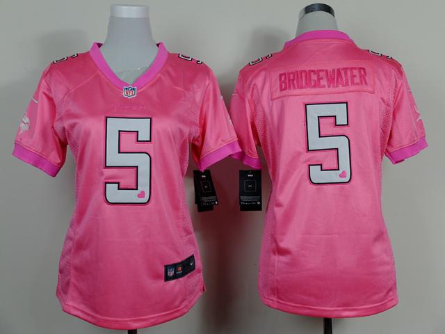 Womens Minnesota Vikings 5 Teddy Bridgewater Pink 2014 Nike Love's Jerseys