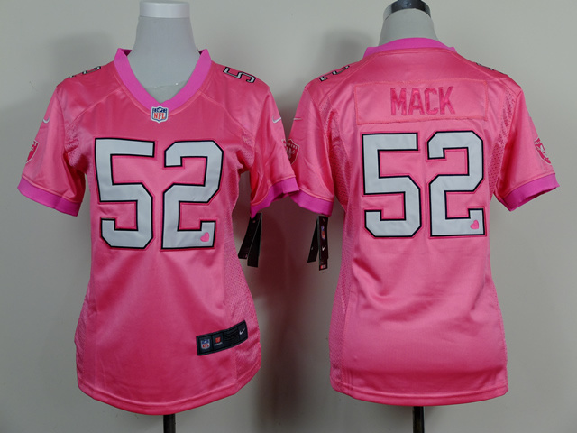 Womens Oakland Raiders 52 Khalil Mack Pink 2014 Nike Love's Jerseys