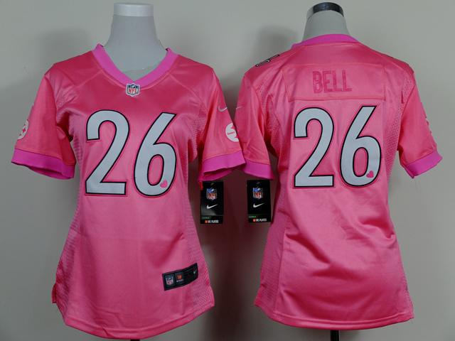 Womens Pittsburgh Steelers 26 Bell Pink 2014 Nike Love's Jerseys