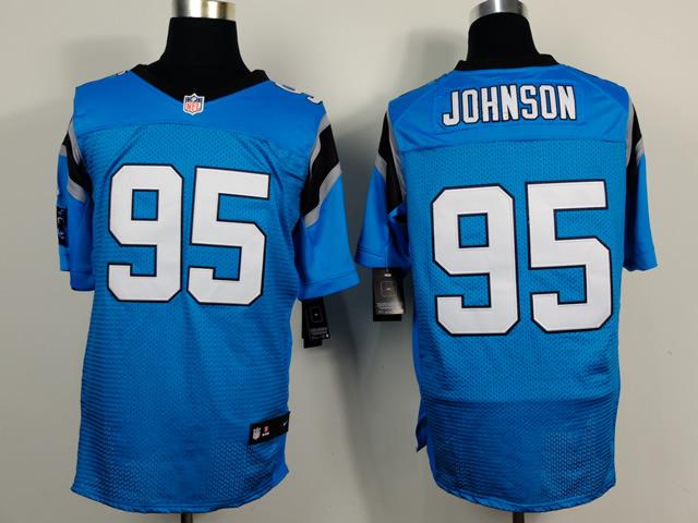 Carolina Panthers 95 Johnson Light Blue 2014 Nike Elite Jerseys