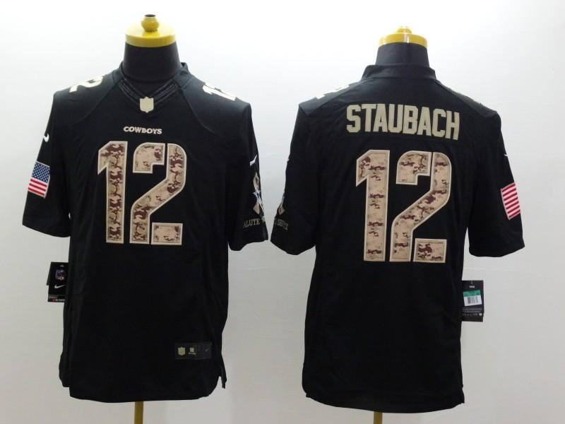 Dallas Cowboys 12 Staubach Black 2014 Nike Salute TO Service Jersey