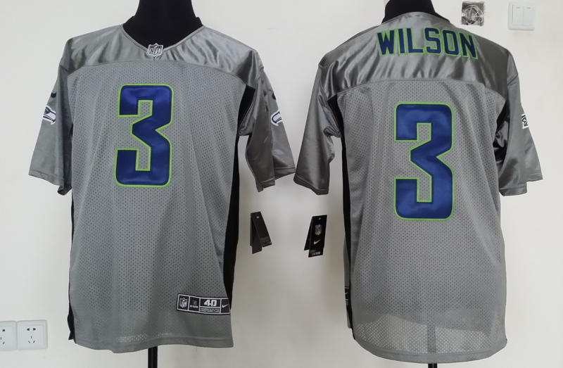 Seattle Seahawks 3 Russell Wilson 2014 Gray Nike Shadow Jerseys