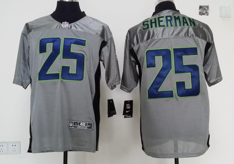 Seattle Seahawks 25 Sherman 2014 Gray Nike Shadow Jerseys