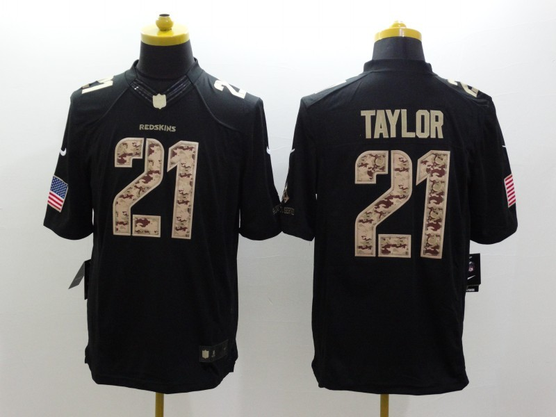 Washington RedSkins 21 Sean Taylo Black 2014 Nike Salute TO Service Jersey