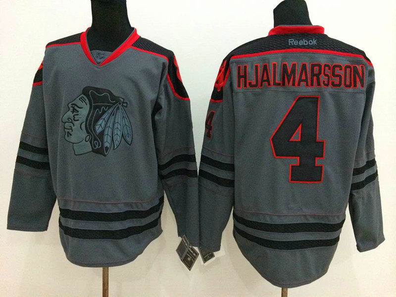NHL Chicago Blackhawks 4 Hjalmarsson Charcoal Fashion 2014 Jersey