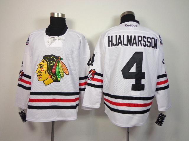 NHL Chicago Blackhawks 4 Hjalmarsson White 2014 Winter Classic Jerseys