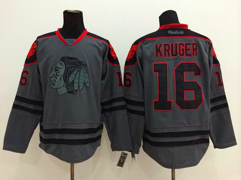 NHL Chicago Blackhawks 16 Kruger Charcoal Fashion 2014 Jersey