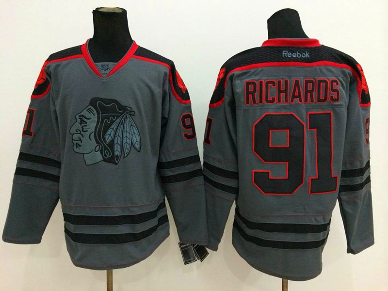 NHL Chicago Blackhawks 91 Richards Charcoal Fashion 2014 Jersey