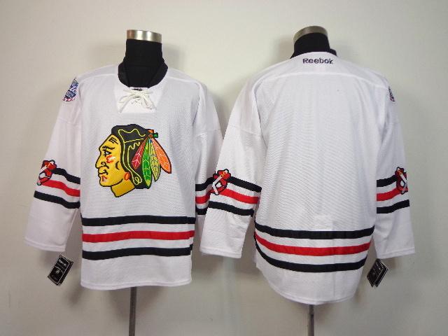 NHL Chicago Blackhawks Blank White 2014 Winter Classic Jerseys
