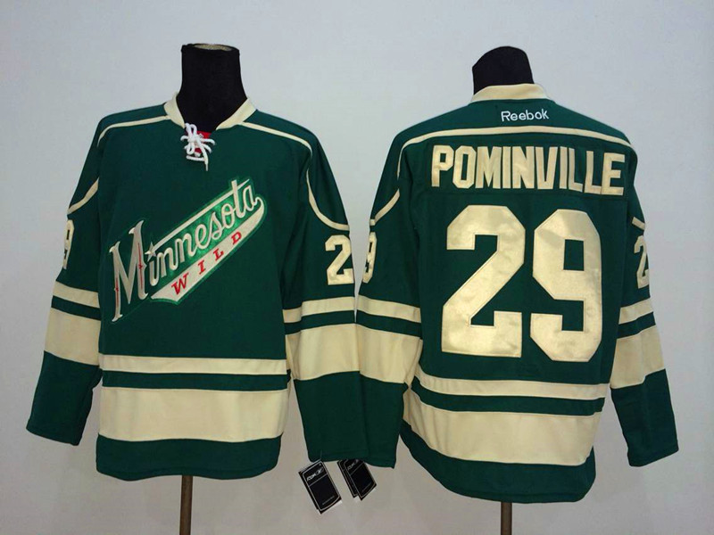 NHL Minnesota Wild 29 Pominville Green 2014 Jerseys