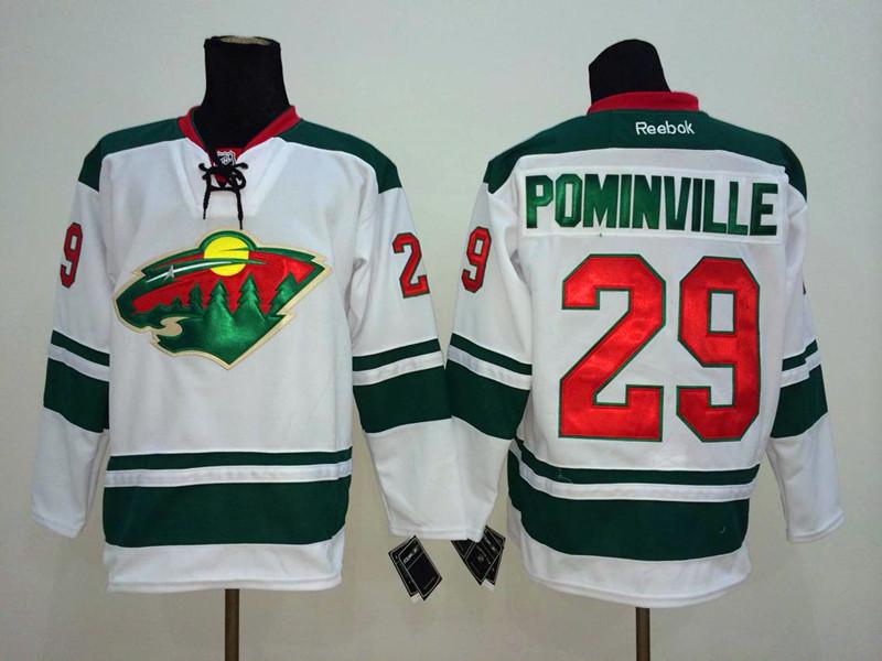 NHL Minnesota Wild 29 Pominville White 2014 Jerseys