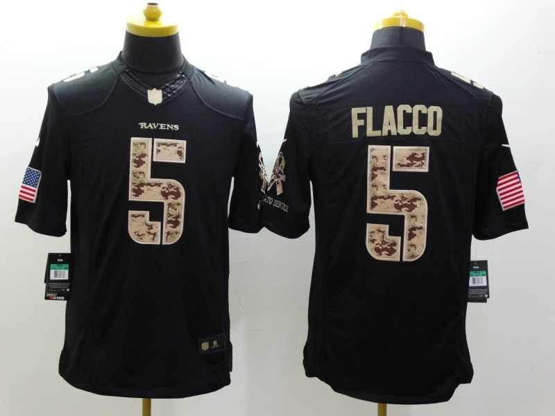 Baltimore Ravens 5 Flacco Black 2014 Nike Salute TO Service Jersey