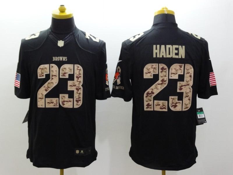 Cleveland Browns 23 Joe Haden Black 2014 Nike Salute TO Service Jersey