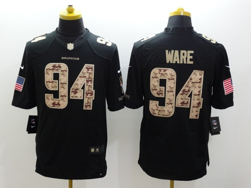 Denver Broncos 94 Ware Black 2014 Nike Salute TO Service Jersey